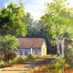 Old Meeting House, watercolor painting
