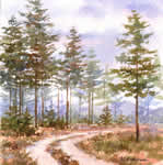 Road in the Forest, watercolor painting
