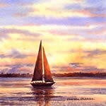 Sailing at Sunset, watercolor painting