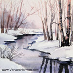 Spring Thaw-2 - Mini, watercolor painting