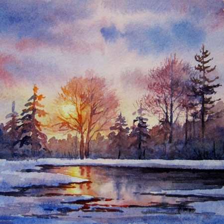 Spring Thaw, Miniature watercolor