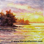 Sunset Shore - Mini, watercolor painting