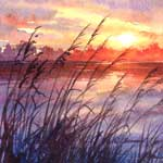 Sunset Glory, watercolor painting