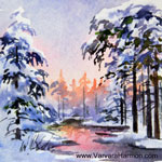 Winter Eve 1 - Mini, watercolor painting