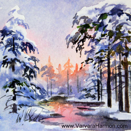 Winter Eve 1, Miniature watercolor