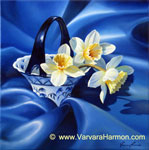 Daffodils on Blue Silk, oil painting on canvas