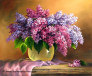 Lilac Bouquet, Oil painting on gessso board 16x20