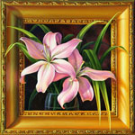 "Lilies Duet, oil painting 20""x20"""