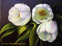 White Tulips, oil painting on canvas