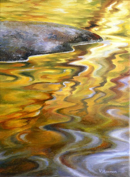 Autumn Color Reflection, Original oil painting on canvas