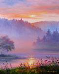 Mist on the River, oil on gessobord