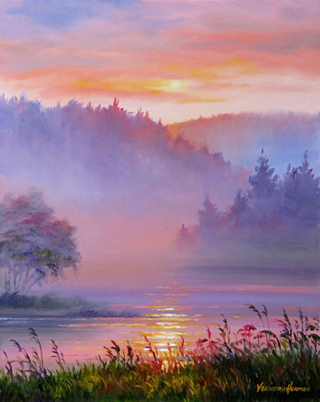 Mist on the River, oil painting