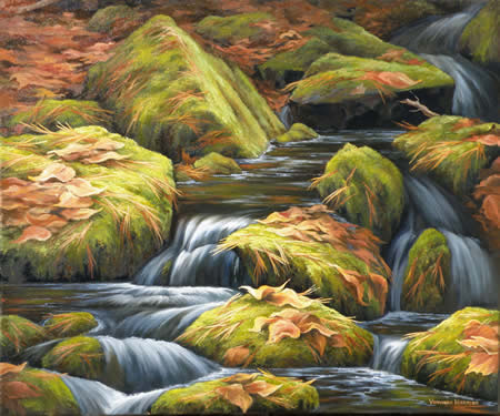 Moss Brook, Oil painting
