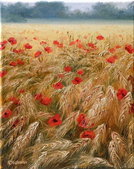 Poppies Field, Original oil painting on canvas