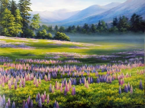 Spring at Crawford Notch, Oil on canvas