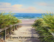 Beach Path, Oil painting on gesso board 8x10