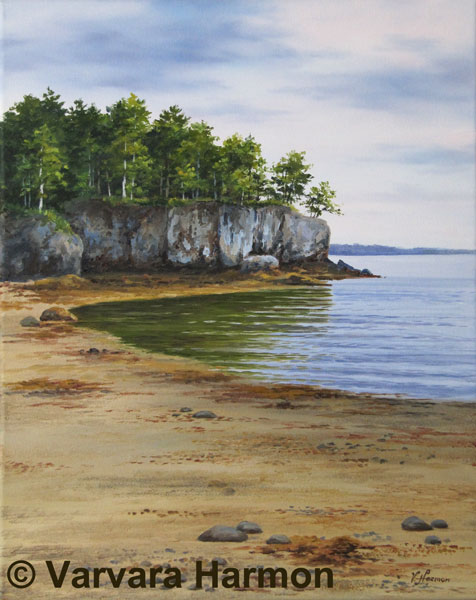 Cleaves Land Cliff at Long Island in Maine, Original oil painting on canvas