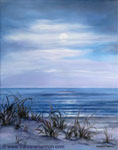 Moon Night Ocean, oil painting