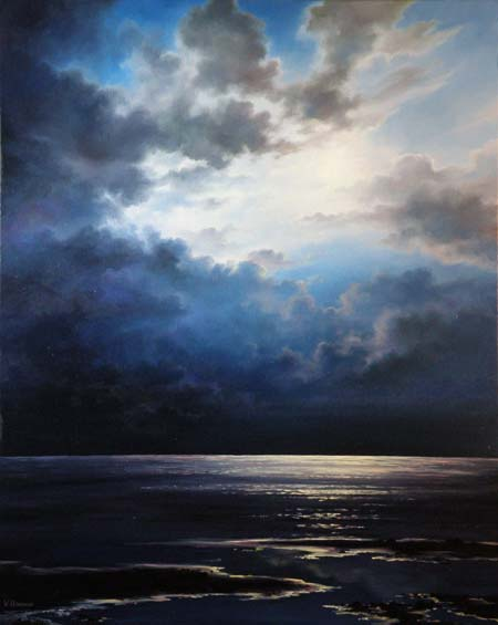 Moonlight Shore, Original oil painting on canvas