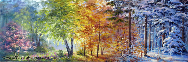 Four Seasons Forest, oil painting on gessobord