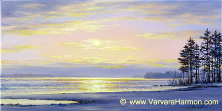 Winter Eve on the Lake, oil painting on canvas