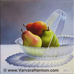 Pears in Glass Bowl, oil painting