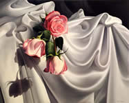 Roses on silk, oil painting