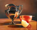 Silver Cup with an Apple, oil painting