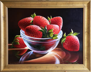Cup with Strawberries, Framed oil painting