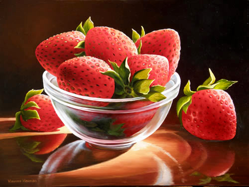 Cup with Strawberries, Oil painting