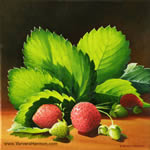 Strawberries, oil painting