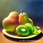 Two Pears and Kiwi, oil painting