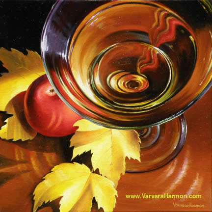 Glass of Wine with an Apple, Oil painting