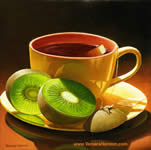 Yellow Cup with Kiwi, Oil on canvas