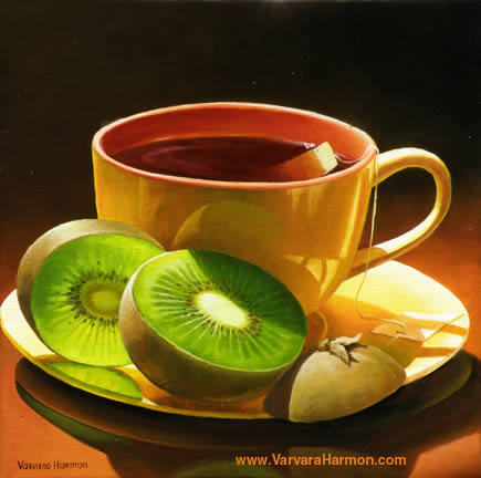 Yellow Cup with Kiwi, Oil painting