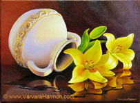 Yellow Lilies Reflection, Oil painting on canvas