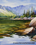 Chimney Pond Clear Water, Original Landscape watercolor painting by Varvara Harmon