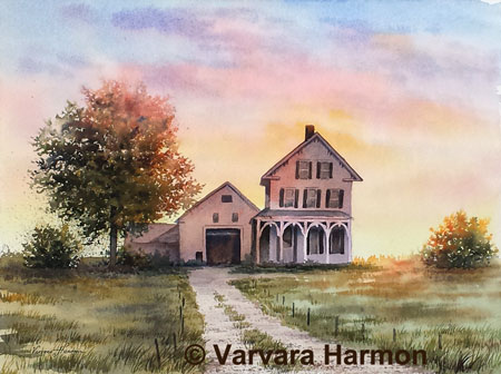 Evening at Cheney Farm, Original watercolor painting by Varvara Harmon