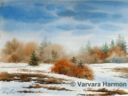 Winter Shadows - 1, Original watercolor painting by Varvara Harmon