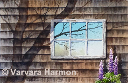 Tree Shadows, Original watercolor painting by Varvara Harmon