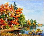 Autumn at the Lake, Original Landscape watercolor painting by Varvara Harmon