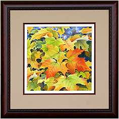 Autumn Leaves, Original Landscape watercolor painting by Varvara Harmon