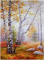Autumn Morning, Original Seascape watercolor painting by Varvara Harmon