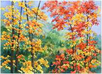 Autumn Scene, Original Landscape watercolor painting by Varvara Harmon