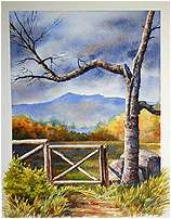 Chocorua Gateway, Original Landscape watercolor painting by Varvara Harmon