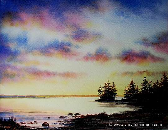 Evening at Wolfe's Neck, Original Landscape watercolor painting by Varvara Harmon