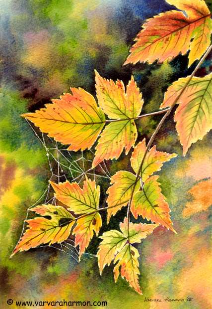 Foliage Web, Original Landscape watercolor painting by Varvara Harmon