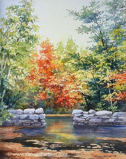 Old Brigde Footing on Bear River, Original Seascape watercolor painting by Varvara Harmon
