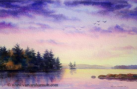 Quiet Evening on Highland Lake, Original Seascape watercolor painting by Varvara Harmon