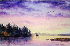 Quiet Evening on Highland Lake, Original Landscape watercolor painting by Varvara Harmon